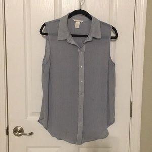 ⭐️H&M polyester strip sleeveless blouse size 12